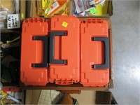Lot, wood cartridge box with 3 plastic ammo boxes,