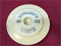 Spaulding Antique Cookie Jar, has 2 chips on lid