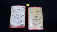 2- Antique Dupont Superfine Gun Powder cans