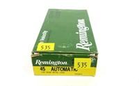 Box of Remington .45 Auto 230-grain MC cartridges