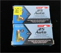 2- Boxes of .25 Auto 50-grain cartridges