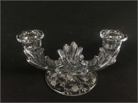 Pair of Etched Glass Candle Holders