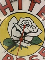 Old White Rose Wall Clock