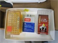 Lot, partial boxes .17 HMR, .22 LR shot shells