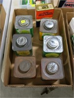Lot, 7 vintage cans powder (all empty): 6 are