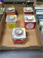 Lot, 5 tins Hercules Bullseye powder, vintage