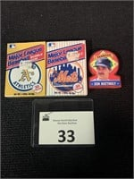 (2) 1990 MLB Club Cards and 1991 Don Mattingly Box