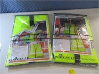 Lot (2) NEW L/XL Green Safety Reflector Vests
