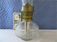 "20"" Glass Oil Lamp w/ Alladin Globe/Hrdwre"