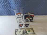 Lot (4) Broncos Shot Glases~Flask~Glass