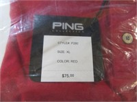 New XL Ping Golf Collared Shirt $75 Red