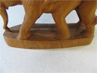 "8"" Elephant Mating Sex Wood Carved Figure"
