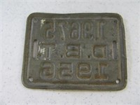1956 Tin Unique Bicycle License Plate