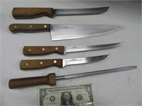 5pc OLD HOMESTEAD Kitchen Knife Set WoodHndled
