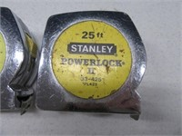 "Lot (2) Stanley 25"" Metal Classic Tape Measures"