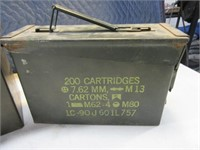 Lot (2) Metal Military Ammo Cans