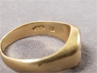 Two 14k signet initial rings