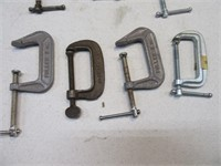 """Lot (8) 2"""" Small C-Clamps Hand Tools"""