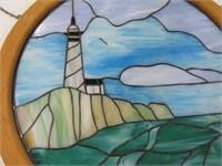 "28"" Lighthouse Round StainedGlass Window Hanging"