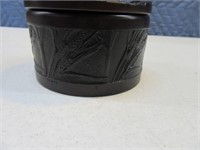 "Unique Buffalo Engraved 4"" Stash~Jewelry Round Box"