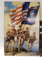 3 Marines tin signs and Babe Ruth picture