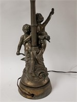 Cast metal Putto lamp with candelabra