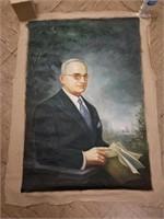 Oil on canvas portrait of Truman