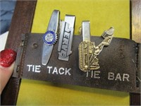 Tie Tacks & Holder Collection w/ Box Estate