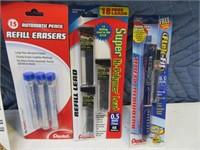 Lot (8) New Packs Mechanical Pencils~Lead~Erasers
