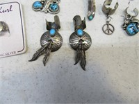 Lot (8) Unusual PAWN Sterling Turquoise Jewelry