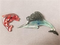 Lucite sailfish and dolphin pins