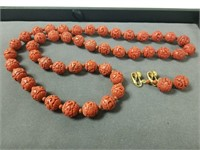 Asian Cinnabar necklace and earrings