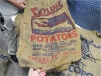 LOT CaliforniaThemed Burlap Potato Advert. Sacks