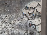 Chinese art, print of a winter snow scene