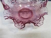 Purple RibbedEdge Glass Basket w/ Embossed