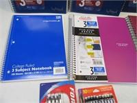 Lot (6) New 3Subject Notebooks + (2) Packs Pencils