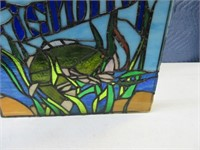 "Stained Glass ""Gone Fishing"" w/ Bass 15""'x15.5"""