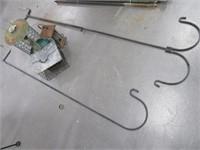 Two Yard Hanging Hooks & 3 Assorted Feeders