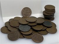 QTY 50 1 ROLL OF UNSEARCHED WHEAT PENNIES