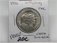 1936 GETTYSBURG COMM HALF DOLLAR COIN