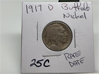 1917-D BUFFALO NICKEL RARE DATE