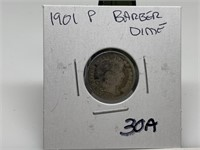 1901 BARBER SILVER DIME COIN