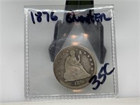 1876 SILVER SEATED QUARTER COIN