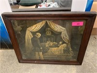 ANTIQUE FRAMED NAPOLEON ON HIS DEATH BED PRINT