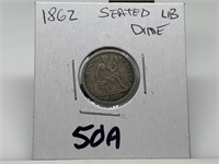 1862 SEATED LIBERTY SILVER DIME COIN