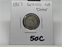1857 SEATED LIBERTY SILVER DIME COIN