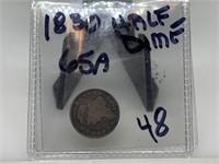 1830 SILVER HALF DIME COIN