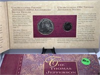 THOMAS JEFFERSON 250TH SILVER DOLLAR / NICKEL