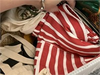 BIN OF MISC TABLE CLOTHS LINENS / NAPKINS MORE