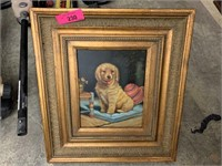 ORIGINAL FRAMED PAINTING OF A PUPPY UNSIGNED